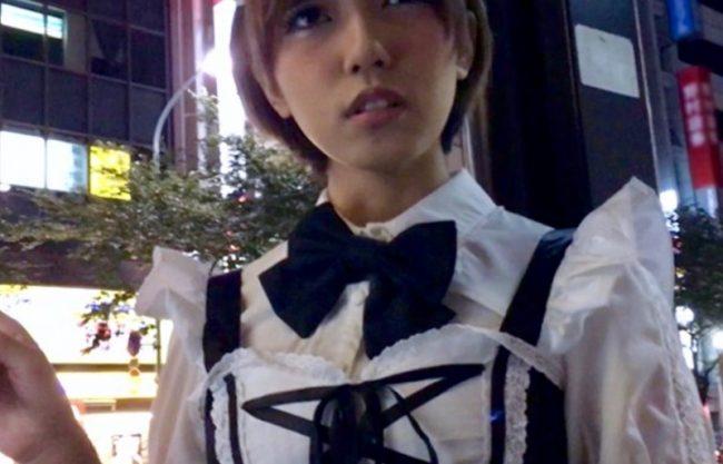 【メイドコス】ショートカットの美少女を声掛けナンパ!可愛い顔してむっつりスケベ変態痴女が精子をごっくする一部始終!